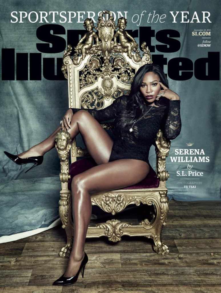"""This photo provided by Sports Illustrated shows the cover of the 2015 """"Sports Person of the Year"""" magazine issue, featuring tennis player Serena Williams. (Yu Tsai for Sports Illustrated via AP) USAGE IN NORTH AMERICA ONLY FOR TWO WEEKS, ENDING DEC. 31, 2015, TO PROMOTE THE SPORTS ILLUSTRATED SPORTSPERSON ISSUE ONLY. CREDIT: YU TSAI FOR SPORTS ILLUSTRATED; ANY USE AFTER DEC. 31, 2015 REQUIRES PERMISSION FROM SPORTS ILLUSTRATED. NO ARCHIVING; NO LICENSING; MANDATORY CREDIT"""