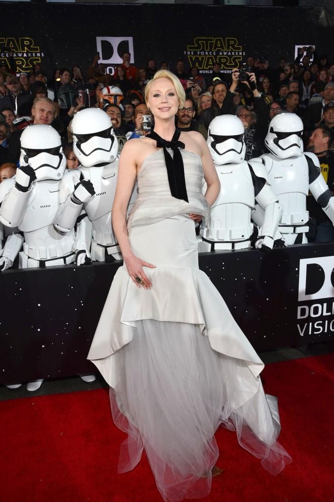 Mandatory Credit: Photo by Buckner/Variety/REX/Shutterstock (5491856az) Gwendoline Christie 'Star Wars: The Force Awakens' film premiere, Los Angeles, America - 14 Dec 2015