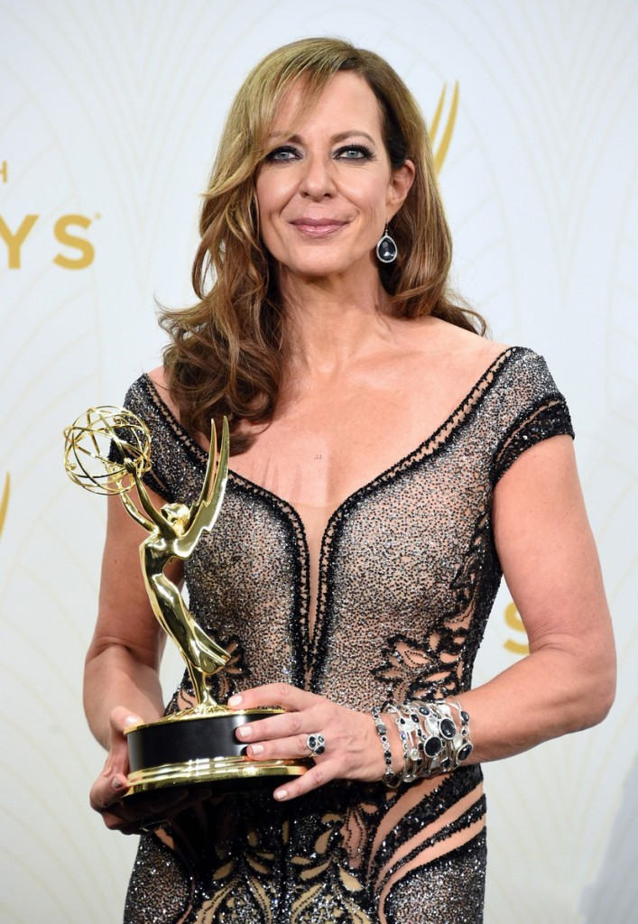 "LOS ANGELES, CA - SEPTEMBER 20:  Actress Allison Janney, winner of Outstanding Supporting Actress in a Comedy Series for ""Mom"", poses in the press room at the 67th Annual Primetime Emmy Awards at Microsoft Theater on September 20, 2015 in Los Angeles, California.  (Photo by Jason Merritt/Getty Images)"