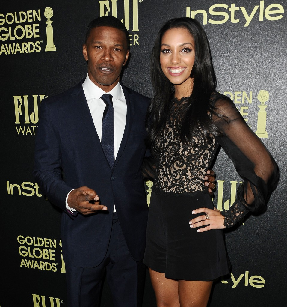 WEST HOLLYWOOD, CA - NOVEMBER 17:  Actor Jamie Foxx and daughter Corinne Foxx attend the Hollywood Foreign Press Association and InStyle's celebration of the 2016 Golden Globe award season at Ysabel on November 17, 2015 in West Hollywood, California.  (Photo by Jason LaVeris/FilmMagic)