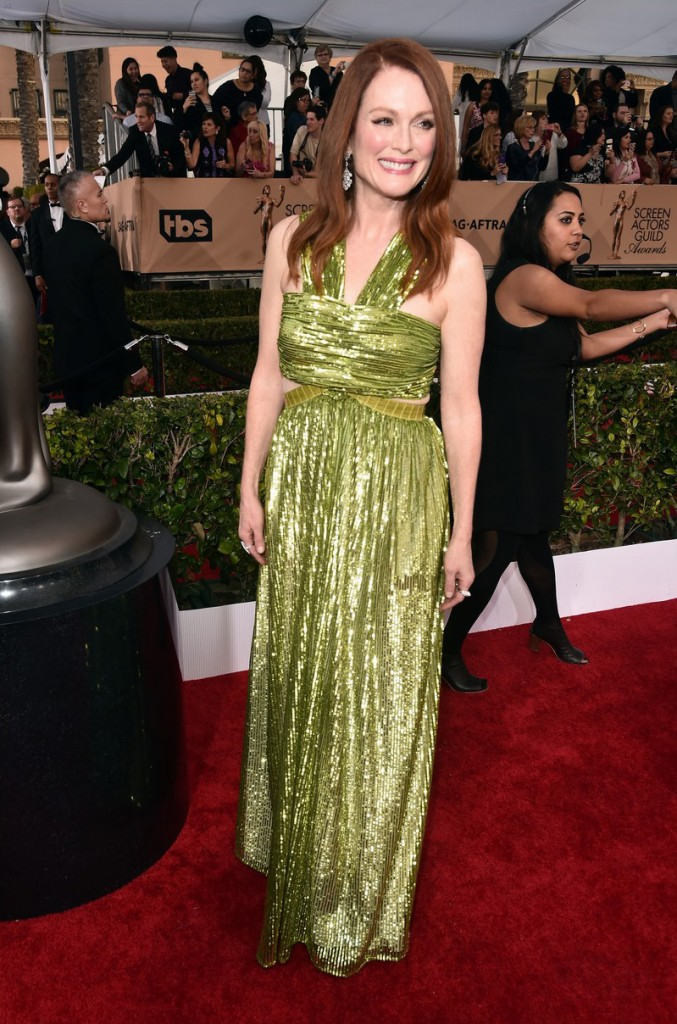LOS ANGELES, CA - JANUARY 30: Actress Julianne Moore attends the 22nd Annual Screen Actors Guild Awards at The Shrine Auditorium on January 30, 2016 in Los Angeles, California. (Photo by Alberto E. Rodriguez/Getty Images)